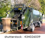 Garbage Truck With A Bin At Th...