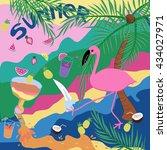 bright summer illustration with ... | Shutterstock .eps vector #434027971