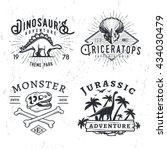 set of dino logos. t rex skull... | Shutterstock .eps vector #434030479