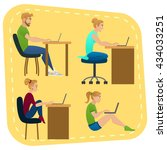 young people with laptops. set... | Shutterstock .eps vector #434033251