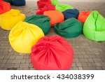 many colorful soft beanbag... | Shutterstock . vector #434038399