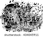 black vector art of hand draw...