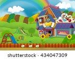 cartoon scene of playground and ... | Shutterstock . vector #434047309