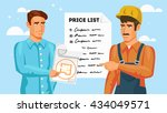the builder and the customer... | Shutterstock .eps vector #434049571
