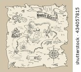 treasure island  map kids... | Shutterstock . vector #434057815