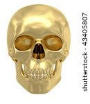 Golden Skull Isolated On White...