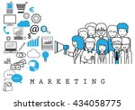 marketing team on white... | Shutterstock .eps vector #434058775