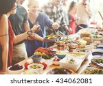 brunch choice crowd dining food ... | Shutterstock . vector #434062081