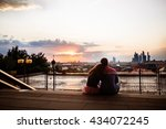 boy and girl in the sunset light | Shutterstock . vector #434072245