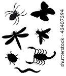 Beetles And Insects Silhouette...