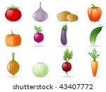 vegetables icon set | Shutterstock .eps vector #43407772