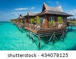 mabul island water bungalow ...   Shutterstock . vector #434078125