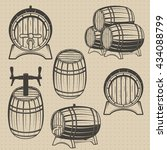 set of barrels in vintage... | Shutterstock . vector #434088799