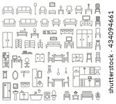 vector home furniture outline... | Shutterstock .eps vector #434094661