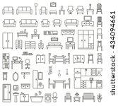 vector home furniture outline...   Shutterstock .eps vector #434094661