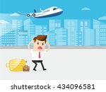 businessman or passenger late... | Shutterstock .eps vector #434096581