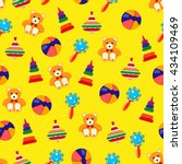 toy seamless back pattern.... | Shutterstock .eps vector #434109469
