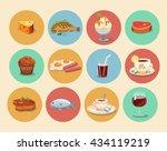food icons casual cartoon set