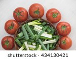 tomatoes and chopped green... | Shutterstock . vector #434130421