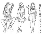 sketch of people. three girls... | Shutterstock .eps vector #434132689