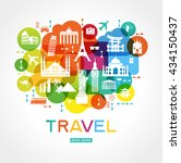 travel background. colorful... | Shutterstock .eps vector #434150437