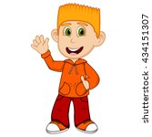 boy with orange jacket and red... | Shutterstock . vector #434151307
