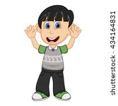 children waving his hand... | Shutterstock . vector #434164831