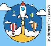 rocket launch over the hot air... | Shutterstock .eps vector #434165509