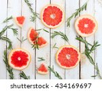 pieces of ripe grapefruit and... | Shutterstock . vector #434169697