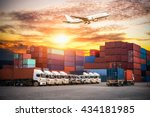 containers shipping and... | Shutterstock . vector #434181985