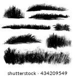 hand drawn watercolor grass set ... | Shutterstock . vector #434209549