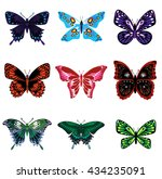 Nine Colorful Butterflies On A...