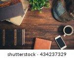 flat lay design of a wooden... | Shutterstock . vector #434237329