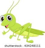 cute grasshopper cartoon | Shutterstock .eps vector #434248111