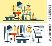 vector set of hairdresser... | Shutterstock .eps vector #434255035