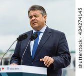 Small photo of BERLIN, GERMANY - JUNI 01, 2016: Speech by Sigmar Gabriel, Minister for Economic Affairs and Energy. Exhibition ILA Berlin Air Show 2016