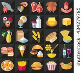 set of food icons flat design... | Shutterstock .eps vector #434279785