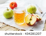 rustic background with apples... | Shutterstock . vector #434281207