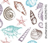 seamless pattern with seashells ... | Shutterstock .eps vector #434290741