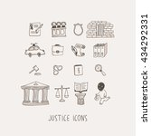 justice hand drawn vector icons ... | Shutterstock .eps vector #434292331