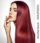 Beautiful Red Woman With Long ...