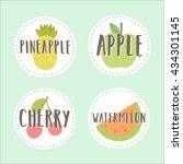 set of fruit badges. part 3.... | Shutterstock .eps vector #434301145