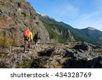 intrepid climbers hike among... | Shutterstock . vector #434328769