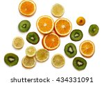oranges  kiwi and lemon pattern ... | Shutterstock . vector #434331091