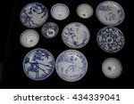 blue and white antique...   Shutterstock . vector #434339041