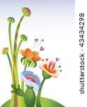 imaginary floral illustration... | Shutterstock .eps vector #43434298