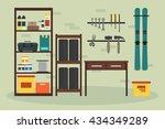 flat garage inside. working... | Shutterstock .eps vector #434349289