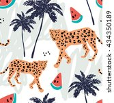 orange leopard  watermelon and... | Shutterstock .eps vector #434350189