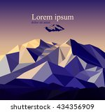vector snow mountains peak... | Shutterstock .eps vector #434356909