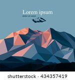 vector snow mountains peak... | Shutterstock .eps vector #434357419